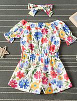 cheap -Kids Girls' Active Basic Vacation Festival Daisy Sun Flower Floral Bow Short Sleeve Regular Regular Clothing Set Rainbow