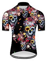 cheap -21Grams Men's Short Sleeve Cycling Jersey Nylon Polyester Black / Blue Novelty Skull Floral Botanical Bike Jersey Top Mountain Bike MTB Road Bike Cycling Breathable Quick Dry Ultraviolet Resistant