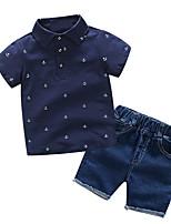 cheap -Kids Boys' Basic Print Short Sleeve Clothing Set White