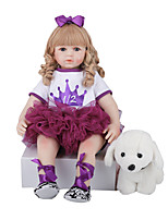 cheap -FeelWind 24 inch Reborn Doll Baby & Toddler Toy Reborn Toddler Doll Baby Girl Gift Cute Lovely Parent-Child Interaction Tipped and Sealed Nails 3/4 Silicone Limbs and Cotton Filled Body LV0110 with