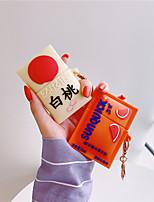 cheap -Cute Peach Drink Silicone Case For Apple Airpods Cover Funny Cartoon Earphone Capa For Airpod 2 1 Headphones Case Box Funda