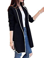 cheap -Women's Trench Coat Daily Long Solid Colored Wine / Black / Gray M / L / XL