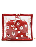cheap -Women's Zipper / Chain PU Leather Bag Set Laser Jelly Bags Solid Color 2 Pieces Purse Set Watermelon Red / Black / Blushing Pink