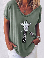 cheap -Women's T-shirt Graphic Tops V Neck Loose Daily White Black Blue S M L XL 2XL 3XL 4XL 5XL