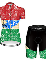 cheap -21Grams Women's Short Sleeve Cycling Jersey with Shorts Nylon Polyester Red / Yellow Patchwork Peace & Love Bike Clothing Suit Breathable 3D Pad Quick Dry Ultraviolet Resistant Reflective Strips
