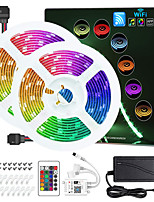 cheap -ZDM® 2x5M Light Sets RGB Strip Lights 300 LEDs 5050 SMD 10mm 1 24Keys Remote Controller 1Set Mounting Bracket 1 DC Cables 1 set RGB Christmas New Year's APP Control Cuttable Party 12 V