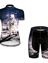 cheap -21Grams Women's Short Sleeve Cycling Jersey with Shorts Nylon Polyester Black / White 3D Astronaut Bike Clothing Suit Breathable 3D Pad Quick Dry Ultraviolet Resistant Reflective Strips Sports 3D