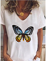 cheap -Women's T-shirt Animal V Neck Tops Loose Summer White
