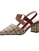 cheap -Women's Sandals Summer Pumps Pointed Toe Daily PU Black / Beige