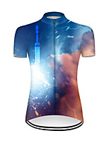 cheap -21Grams Women's Short Sleeve Cycling Jersey Nylon Polyester Red+Blue 3D Gradient Rocket Bike Jersey Top Mountain Bike MTB Road Bike Cycling Breathable Quick Dry Ultraviolet Resistant Sports Clothing