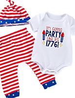 cheap -Baby Girls' Basic Striped Short Sleeve Regular Clothing Set White