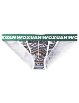 cheap -Men's Print Briefs Underwear - Normal Low Waist Blue Fuchsia Green S M L