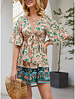 cheap -Women's Sundress Short Mini Dress - Half Sleeve Floral Spring Summer Mumu Boho 2020 Blushing Pink S M L XL