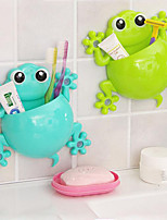 cheap -Cute Cartoon Gecko Model Toothbrush Toothpaste Wall Mount Sucker Makeup Holder Rack Children Bathroom Accessories Color Random