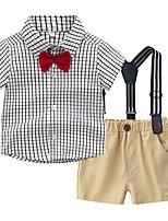 cheap -Kids Boys' Basic Check Short Sleeve Clothing Set Blue
