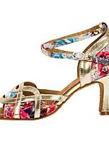 cheap -Women's Latin Shoes PU Heel Cuban Heel Dance Shoes Gold