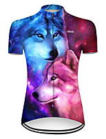 cheap -21Grams Women's Short Sleeve Cycling Jersey Nylon Polyester Red+Blue Gradient Animal Wolf Bike Jersey Top Mountain Bike MTB Road Bike Cycling Breathable Quick Dry Ultraviolet Resistant Sports