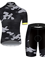 cheap -21Grams Men's Short Sleeve Cycling Jersey with Shorts Nylon Polyester Camouflage Patchwork Camo / Camouflage Bike Clothing Suit Breathable 3D Pad Quick Dry Ultraviolet Resistant Reflective Strips