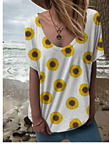 cheap -Women's T-shirt Graphic Tops V Neck Daily Summer White S M L XL 2XL 3XL