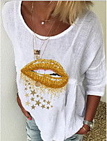cheap -Women's T-shirt Graphic Tops Round Neck Loose Cotton Daily White S M L XL 2XL