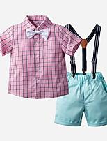 cheap -Kids Toddler Boys' Basic Print Plaid Short Sleeve Clothing Set Blushing Pink