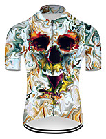 cheap -21Grams Men's Short Sleeve Cycling Jersey Nylon Polyester Blue / White 3D Novelty Skull Bike Jersey Top Mountain Bike MTB Road Bike Cycling Breathable Quick Dry Ultraviolet Resistant Sports Clothing