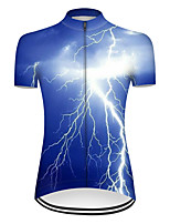 cheap -21Grams Women's Short Sleeve Cycling Jersey Nylon Polyester Blue 3D Lightning Gradient Bike Jersey Top Mountain Bike MTB Road Bike Cycling Breathable Quick Dry Ultraviolet Resistant Sports Clothing