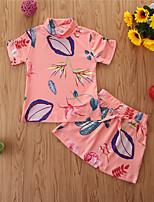 cheap -Baby Girls' Basic Print Short Sleeve Regular Regular Clothing Set Blushing Pink