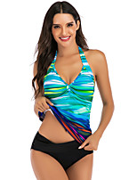 cheap -Women's Tankini Elastane Swimwear Breathable Quick Dry Sleeveless Swimming Surfing Water Sports Summer / Stretchy