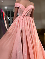cheap -A-Line Luxurious Sparkle Engagement Formal Evening Dress V Neck Sleeveless Sweep / Brush Train Lace with Sash / Ribbon Split 2020