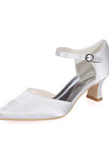 cheap -Women's Wedding Shoes Spring / Summer Block Heel Square Toe Minimalism Wedding Party & Evening Buckle Solid Colored Satin White / Black / Purple