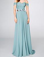 cheap -A-Line Elegant Floral Engagement Formal Evening Dress Off Shoulder Short Sleeve Sweep / Brush Train Chiffon with Sash / Ribbon Pleats 2020