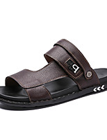 cheap -Men's Spring / Summer Casual Daily Home Sandals Walking Shoes / Upstream Shoes Faux Leather / PU Breathable Non-slipping Wear Proof Dark Brown / Black / Blue