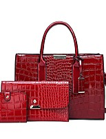 cheap -Women's Zipper PU Bag Set Bag Sets Solid Color Black / Red / Coffee