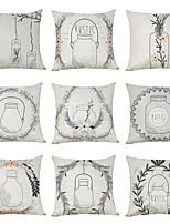 cheap -9 pcs Linen Pillow Cover, Bottle Floral Plants Casual Modern Square Traditional Classic