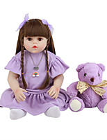 cheap -FeelWind 18 inch Reborn Doll Baby & Toddler Toy Reborn Toddler Doll Baby Girl Gift Cute Lovely Parent-Child Interaction Tipped and Sealed Nails 3/4 Silicone Limbs and Cotton Filled Body LV0107 with