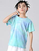 Недорогие -Дети Мальчики Классический Узоры тай-дай С короткими рукавами Футболка Светло-синий