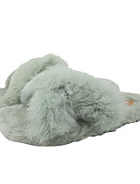 cheap -Women's Slippers & Flip-Flops Spring / Fall Flat Heel Open Toe Sweet Daily Outdoor Rabbit Fur Light Brown / Black / Pink / Fuzzy Slippers