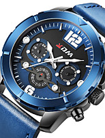cheap -Men's Sport Watch Quartz Modern Style Stylish Leather Water Resistant / Waterproof Calendar / date / day Alarm Clock Analog Casual Big Face - Black+Gloden Black Blue