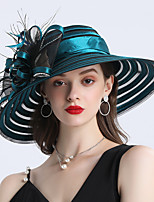 cheap -Headwear Feathers / Plain Sateen / Net Headwear with Flower / Split Joint 1 Piece Casual / Outdoor Headpiece