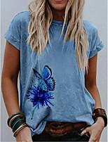 cheap -Women's T-shirt Graphic Round Neck Tops Cotton Summer Blue Khaki
