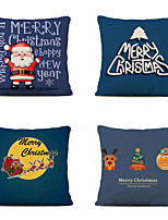 cheap -Set of 4 Linen Pillow Cover Special Design Cartoon Traditional Christmas Throw Pillow