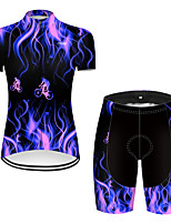 cheap -21Grams Women's Short Sleeve Cycling Jersey with Shorts Nylon Polyester Black / Blue 3D Patchwork Gradient Bike Clothing Suit Breathable 3D Pad Quick Dry Ultraviolet Resistant Reflective Strips Sports