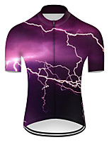 cheap -21Grams Men's Short Sleeve Cycling Jersey Nylon Polyester Violet 3D Lightning Gradient Bike Jersey Top Mountain Bike MTB Road Bike Cycling Breathable Quick Dry Ultraviolet Resistant Sports Clothing