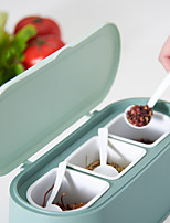 cheap -Seasoning Storage Box Plastics Moisture-proof Spice Box with 3 Compartnments and 3 Spoons