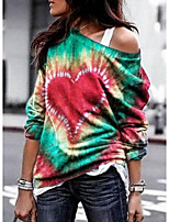 cheap -Women's T-shirt Tie Dye Tops Round Neck Daily Blue Purple Red S M L XL 2XL 3XL