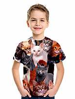 cheap -Kids Boys' Basic Cat Animal Print Short Sleeve Tee Black