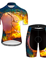 cheap -21Grams Men's Short Sleeve Cycling Jersey with Shorts Nylon Polyester Black / Yellow 3D Bird Bike Clothing Suit Breathable 3D Pad Quick Dry Ultraviolet Resistant Reflective Strips Sports 3D Mountain