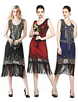 cheap -The Great Gatsby Vintage 1920s Flapper Dress Women's Sequins Tassel Fringe Costume Black / Red / Blue Vintage Cosplay Party Homecoming Prom