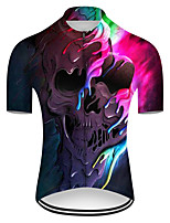 cheap -21Grams Men's Short Sleeve Cycling Jersey Nylon Polyester Black / Red 3D Gradient Skull Bike Jersey Top Mountain Bike MTB Road Bike Cycling Breathable Quick Dry Ultraviolet Resistant Sports Clothing